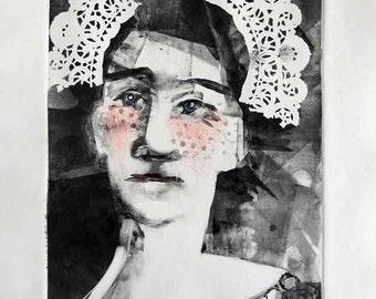 Original art, monotype, whimsical art, woman art, back & white art, original print, one of a kind art, contemporary art, Thanksgiving