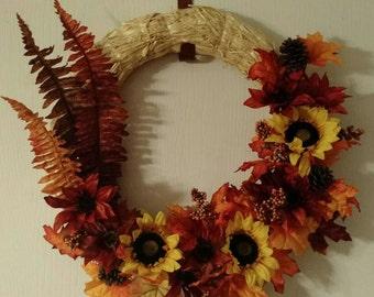 Fall Leaves Straw Wreath