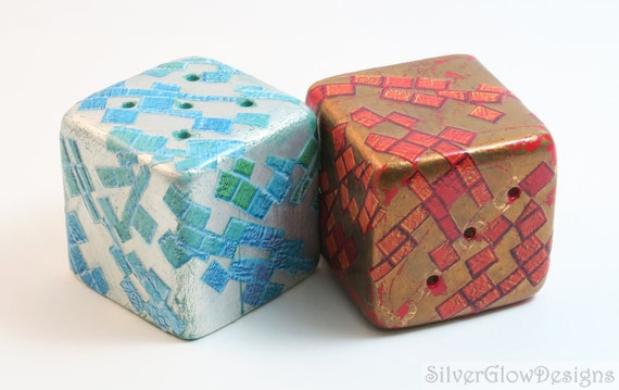 Decoupage Salt And Pepper Shaker Set With Decorative Paper