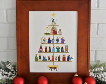 Timeline Tree art print - The Lineage of Jesus for Christmas, signed by the artist (11x14 in.)