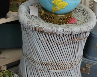 SOLD!!! Reed and Jute Table/Ottoman painted Eggshell Blue