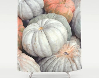 Pumpkin shower curtain, rustic bathroom decor, rustic shower curtain, Halloween Thanksgiving decor, fabric, orange grey shower curtain