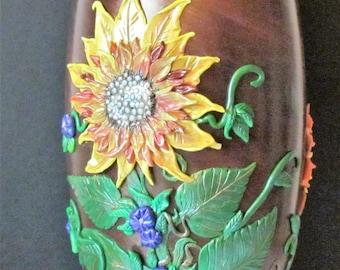 Sunflower Vase,Polymer Clay vase,Polymer Clay on glass Vase,Polymer clay sunflowers,Glass Vase,Autumn glass vase,painted vase,Thanksgiving