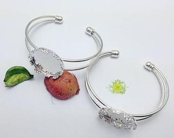 Bracelet Blanks-Cuff Bangle Bracelet Blank-1inch Round Bezel Bracelets-25mm Cabochon Bracelet Blanks-0116-Select Qty