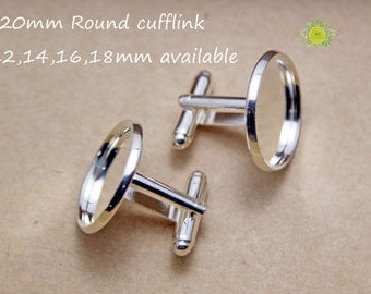 20mm cuff link-Bezel Cufflinks Silver Tone With Round Setting Cup fit 20mm Cabochon-Wholesale French Cufflink-20mm cufflink blanks-20pcs