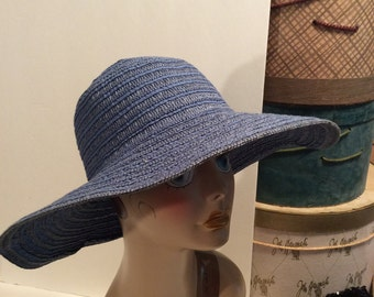 20% OFF SALE Vintage Blue Wide Brim Grosgrain Ribbon and Straw Beach Sun Hat