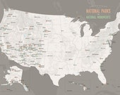 US National Parks & National Monuments Map 24x36 Poster