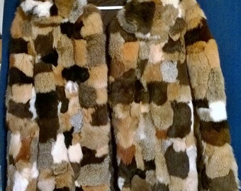 Vintage patchwork Rabbit Fur coat