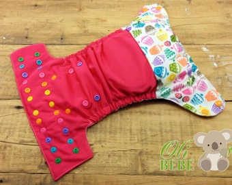 Cupcake pink - Cloth Diaper One Size pocket