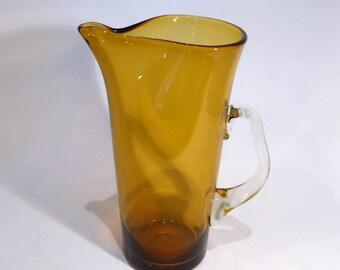 Vintage amber glass jug/pitcher