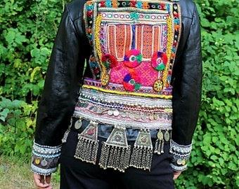 Tribal leather jacket