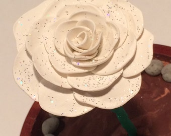Glow in the Dark White Rose with Glitter in a glass dome, Beauty and the Beast Rose, Enchanted Rose, Beauty and the Beast wedding, glitter