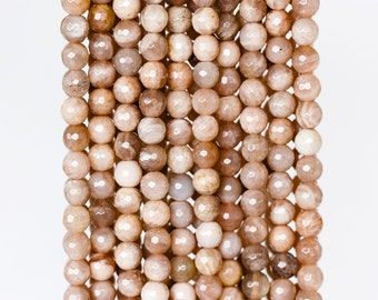 2042_Sunstone beads 6mm, Faceted round beads, Peach amber, Natural stone, Pastel beads, Faceted sunstone beads, Peach sunstone, Round amber.