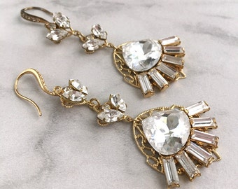 Bridal jewelry earrings - statement rhinestone earrings - wedding jewelry - crystal chandelier earrings - jewelry earrings - Hayley earrings