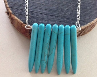 Turquoise spike necklace-Spike necklace - Mother's Day gifts
