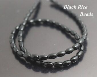 3x6mm Natural Black Agate Rice Beads,15 inch per Strand