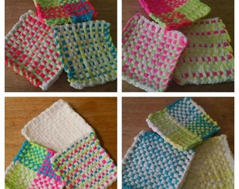 Basket Weave Potholders (Set of 3)/Neon Colors