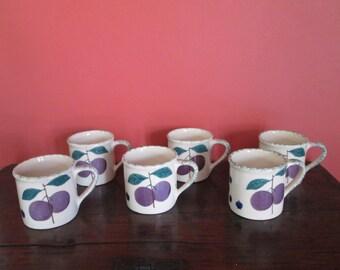 Set 6 HARSTONE Pottery Fruit Salad Coffee Tea Soup Mugs
