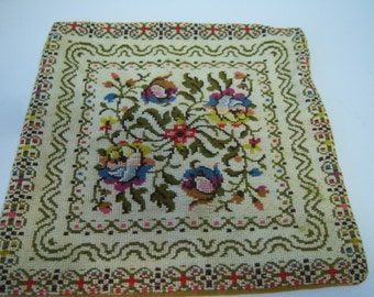 Vintage Needlepoint, Small Pillow Cover, Throw Pillow Cover With Zipper, Pillow Not Included, Handmade Needlepoint, Estate Find