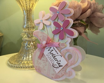 Handmade 3D Jug of Flowers Mother's Day Card