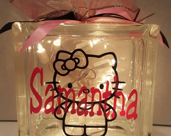 Personalized Hello Kitty Glass Block with light