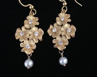 Gold Chandelier Earrings, Pearl Earrings, Zirconia Crystal Earrings, Bridal White Earrings, Hypoallergenic Earrings, Rose Gold Earrings