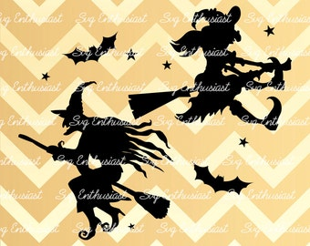 Witch silhouette SVG, Halloween SVG , Witches Svg, bats Svg, Witch svg, Cricut, Vinyl, Eps, Dxf, Cut Files, Clip Art, Vector,