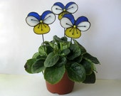 Stained glass flower Viola tricolor Decoration for pot Summer gift June Handmade Gift for her
