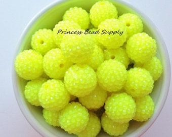 20mm Neon Yellow Rhinestone Beads,  Chunky Beads Set of 10, Yellow Neon Rhinestone Beads,  Bubble Gum Beads, Gumball Beads, Acrylic Beads