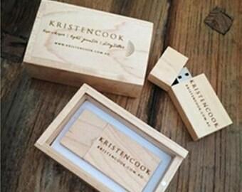 Custom Wedding Natural Maple/Walnut Wooden USB 2.0 Flash Drive Memory Stick