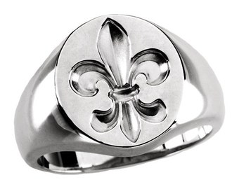 Men's Fleur De Lis Signet Ring in Sterling Silver - New Orleans Saints Ring - Fleur-De-Lis Ring - Who Dat Ring - Who Dat Nation - Gents Ring