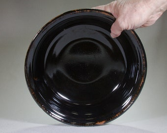 Large Black Stoneware Scrying Bowl
