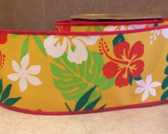 "2.5"" Wire-edged Hawaiian Tropical Print Ribbon 3 Feet"