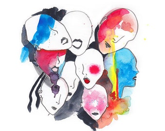 Abstract illustration, Colorful faces | Watercolor splashes | Hand drawn | Digital download - Bright colors theme 300 dpi