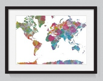 Map of the world designed from watercolors 3 - World Map Series