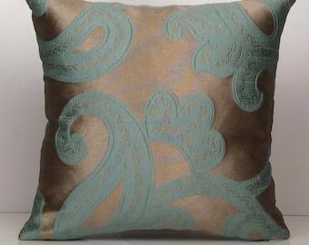 Grey and Teal Pillow, Throw Pillow Cover, Decorative Pillow Cover, Cushion Cover, Accent Pillow, Satin Blend Pillow, Detailed Pillow, Gift