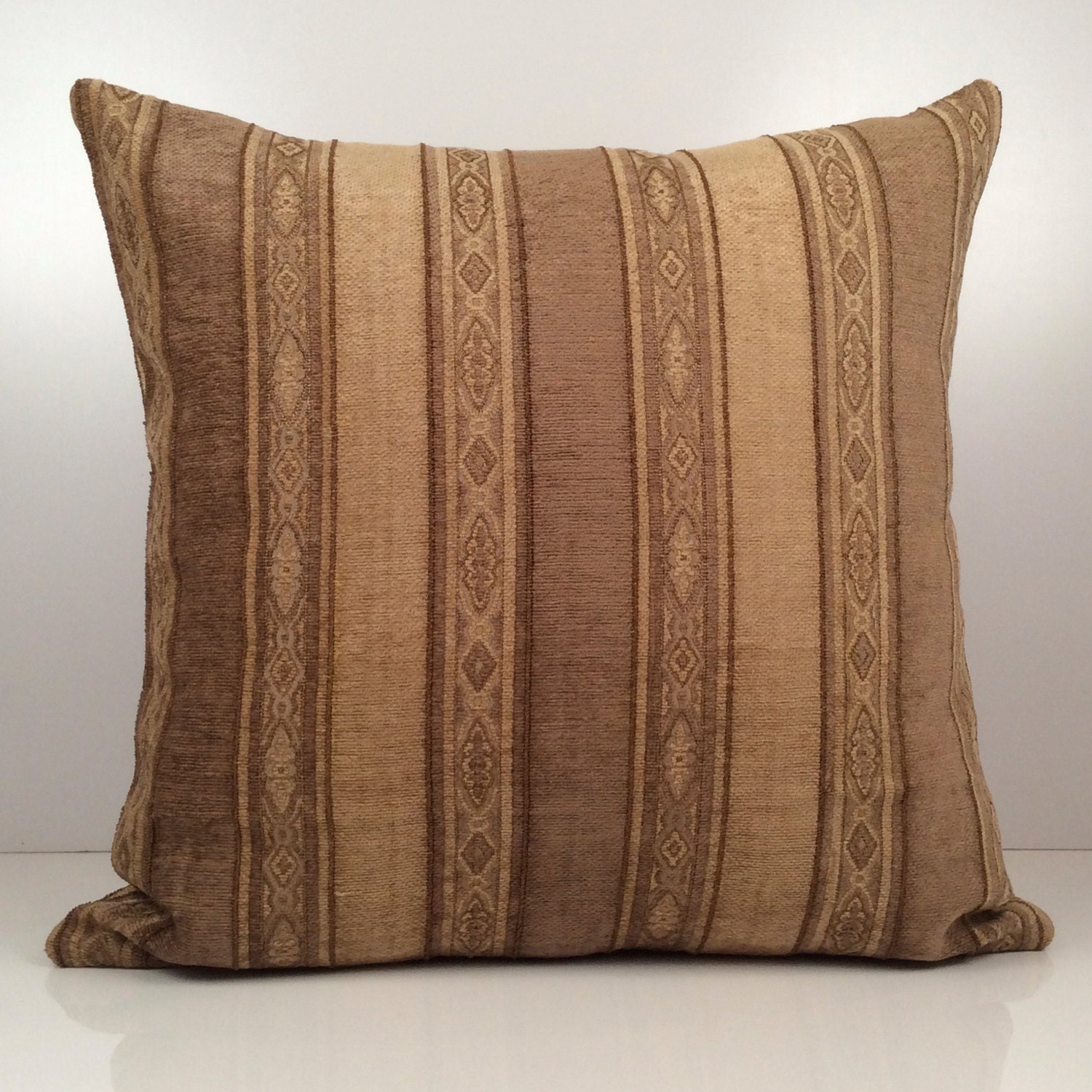 Light Brown Decorative Pillows : Dark Tan and Light Brown Pillow Striped Pillow Throw Pillow
