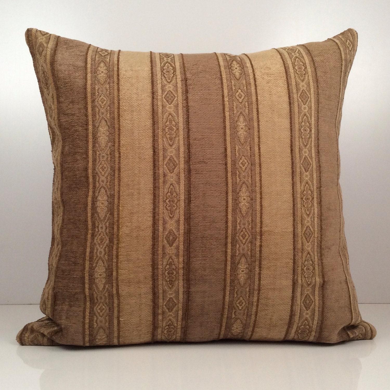 Dark Tan and Light Brown Pillow Striped Pillow Throw Pillow