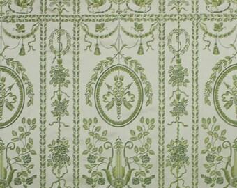 SCALAMANDRE EMMA'S LYRE Neoclassical Silk Lampas Damask Fabric 5 Yards Ivory Green