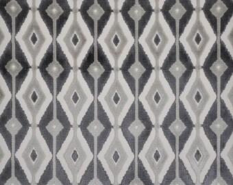 DESIGNER BLAINE SOUTHWEST Ikat Kilim Cut Velvet Fabric 10 Yards Slate/Gray Charcoal
