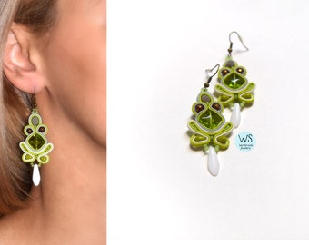 Long green earrings. Fashion Earrings Soutache. Green jewelry. Green, gray and white.