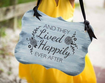 2 sided here comes your bride/and they lived happily ever after wood sign with ribbon