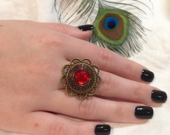 Red Jewelled Vintage Button Ring