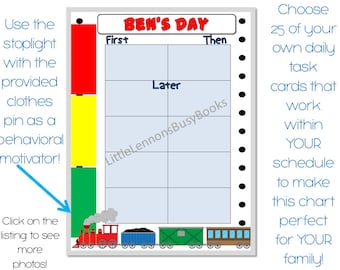 Train themed First, Then Chart, Daily schedule chart, customized for your needs, laminated chart, visual schedule stoplight behavioral chart