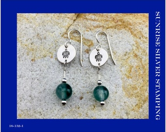 Sea Turtle Earrings, Sterling Silver with Green Agate Stone Beads, Summer Beach Jewelry,  Sea Life Earrings, Ocean Life Jewelry, Marine