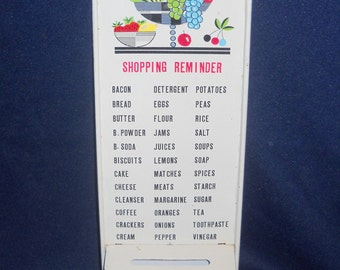 Vintage Painted Tin Shopping Reminder, Trading Stamp Saver Wall Hanging, Retro Kitchen