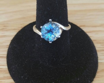 8mm Round Blue Topaz Sterling Silver Ring Size 7 or 8