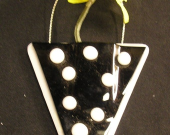 Black and White Polka Dotted Fused Glass Pocket Vase