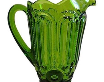 Vintage Forest Green Depression Glass Pitcher