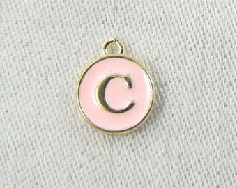 "Pink and Gold Enamel Letter ""C"" Charm, 1 or 5 letters per package  ALF003c-P"